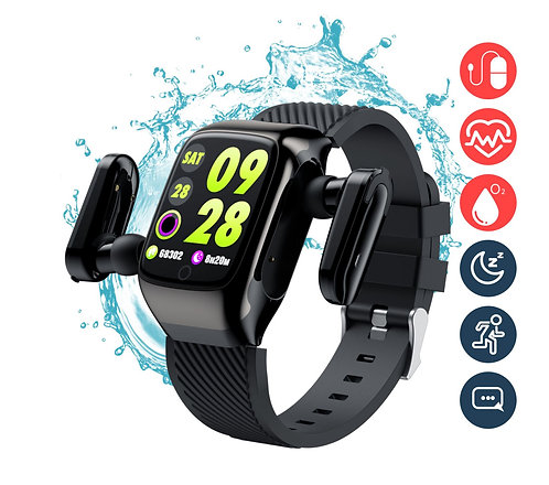 Smart Watch with Bluetooth Wireless Earbuds