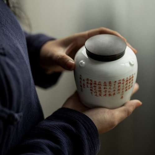 White Porcelain Canisters for Storing loose Tea, Tea-Shop Material