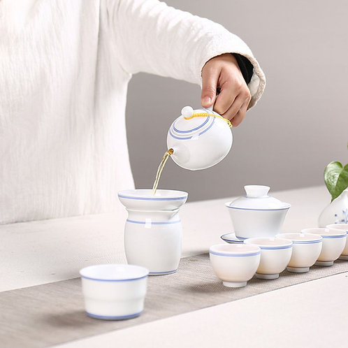 White Porcelain Tea with Double Blue Lines, Chinese Traditional Porcelain Teaset