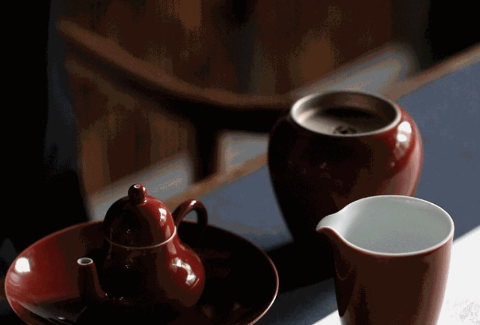 Single Color Glaze Porcelain Tea-ceremony Tea Set Suite, High-end Tea Set