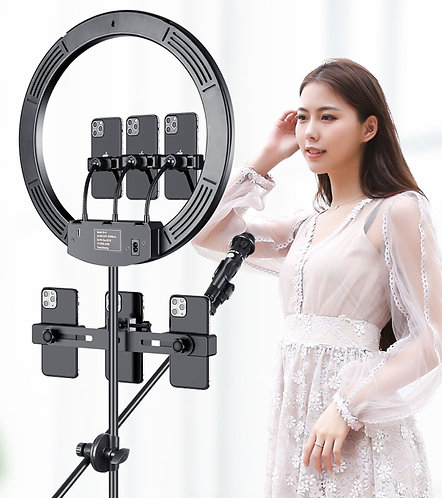 """10"""" LED Selfie Ring Light Dimmable and Extendable Tripod Stand & Flexible Phone"""