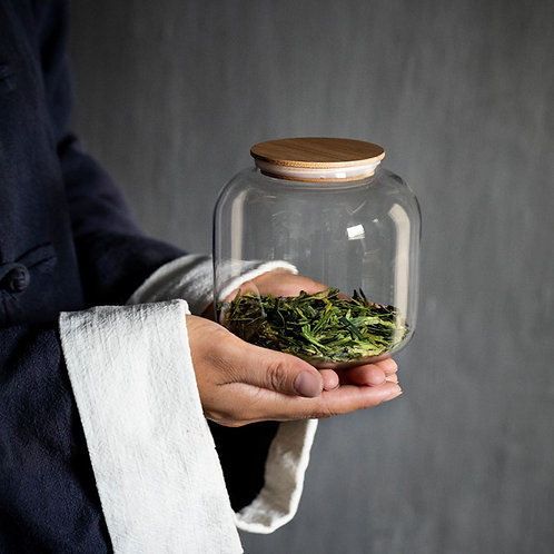 Glass Canisters for Storing loose Tea, Tea-Shop Material