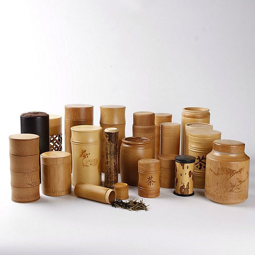 Handmade Bamboo Canisters for Storing Loose Tea, Tea-Shop Package Material