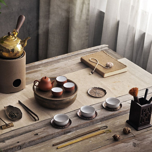 Vintage Handmade Copper Kettle,Chaozhou Gongfu Tea Ceremony Tea Set