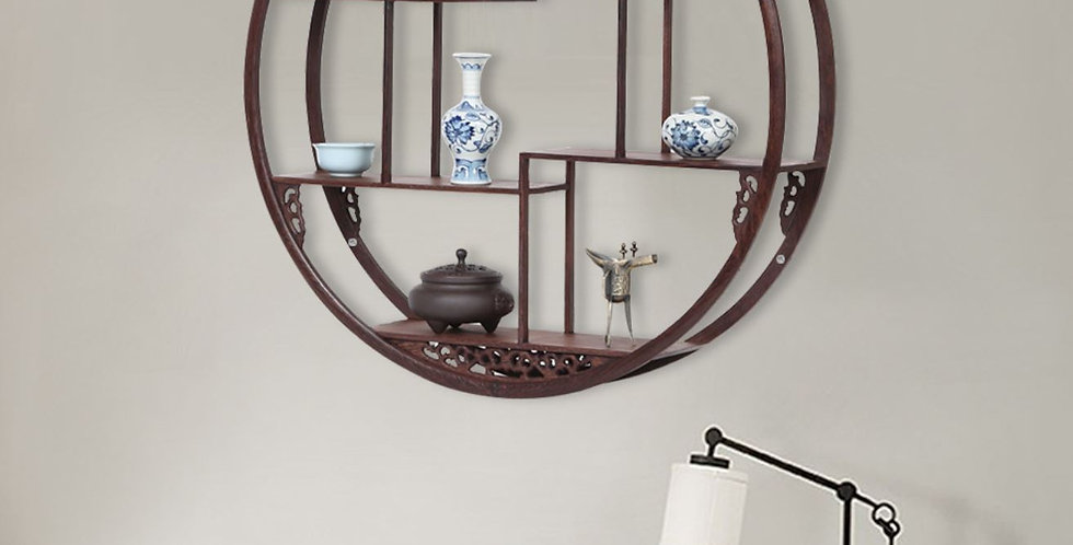 Wall-hung type curio shelves, Oriental & vintage tea-room decoration