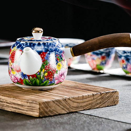 Enamel-color Porcelain Teapot, Chinese Traditional Porcelain Tea Set