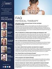 Frequently Asked Question about physical therapy at Advanced Center For Pain And Rehab.