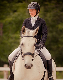 June and Cisco at a dressage show.