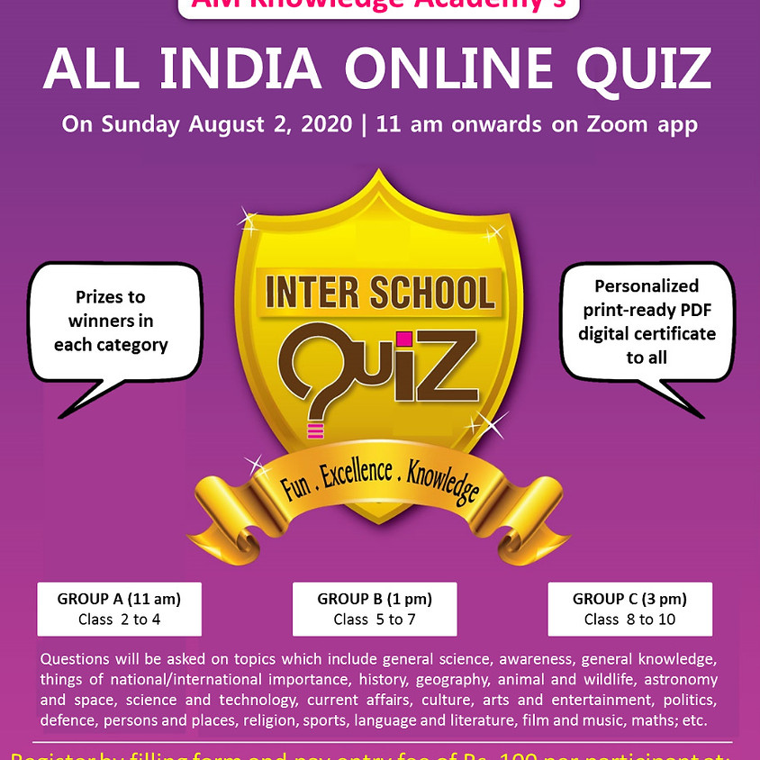 All India Online Quiz For School Students