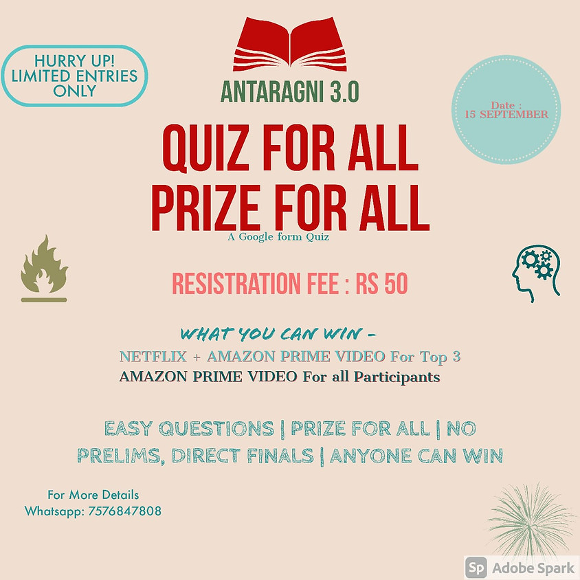 ANTARAGNI 3.0 | QUIZ FOR ALL, PRIZE FOR ALL