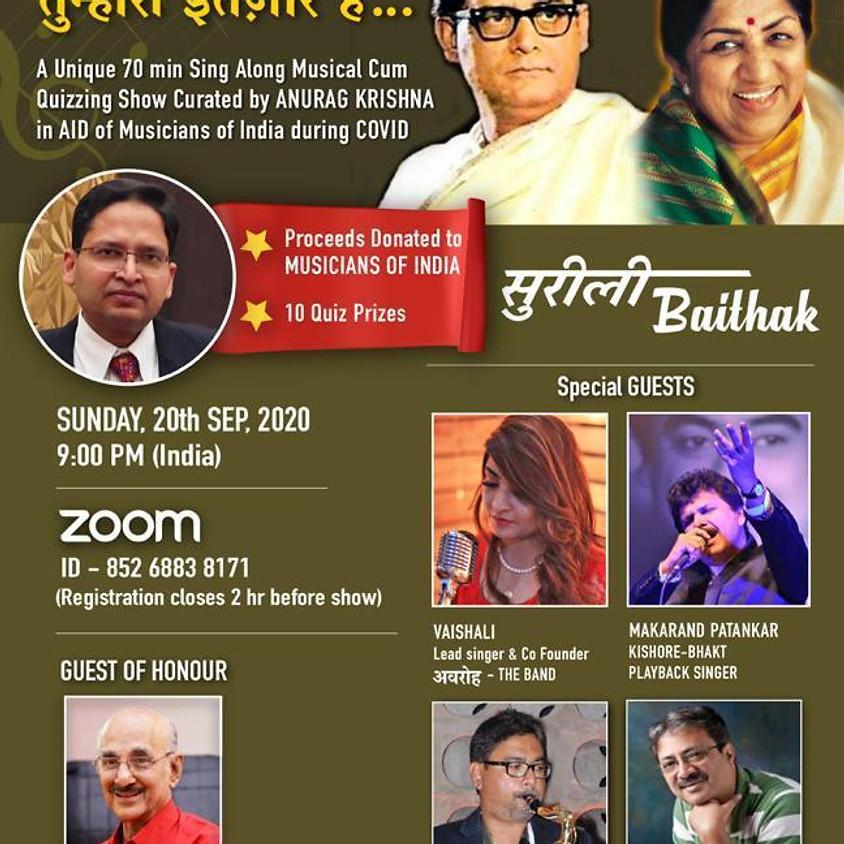 Surili Bhaitak - TUMHARA INTEZAAR HAI - Hemant Kumar & Lata Special - Musical Quiz for the Aid of Musicians of India