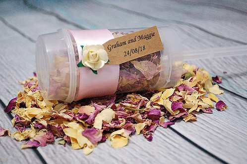 Personalised Confetti Popper Rustic Tag, Biodegradable Wedding Throwing Petals