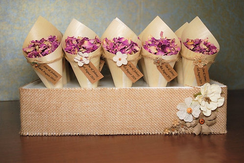 20 Open Bamboo Cones complete with Hessian Tray and Personalised Tags