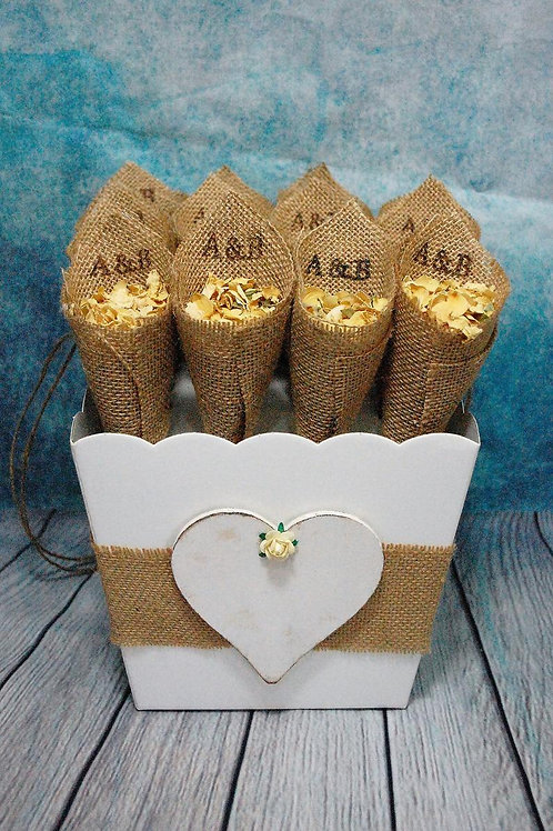 16 Open Hessian Confetti Cones with Ivory Card Basket Stand