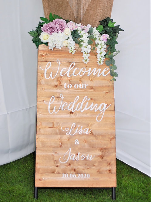 Wooden Welcome To Our Wedding Sign Optional Flower Decoration and Stand