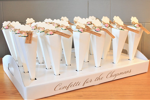 Wedding Confetti Tray/ Holder for Cones, Poppers, Bamboo Cones