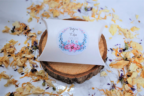 Wedding Pillow Envelope Cwith Personalised Sticker and Biodegradable Petals