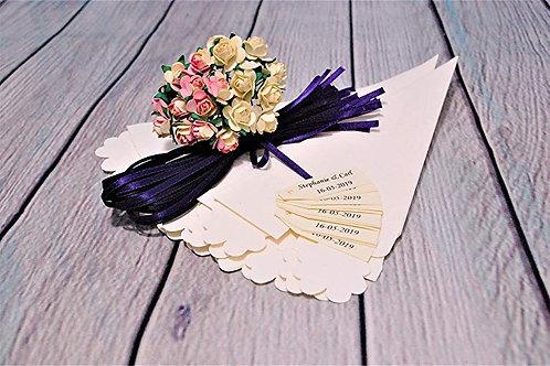 DIY Rose Wedding Confetti Cone, Ribbon and Ivory Tag