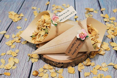 Rose Bamboo Confetti Open Cone, filled with Biodegradable Flower Petals