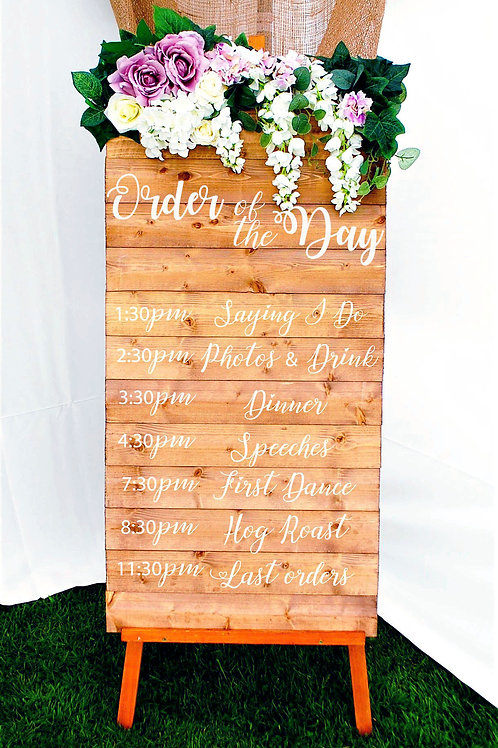Wooden Order of the Day Wedding Sign, Optional Flower Decoration and Stand