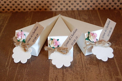 Rose Wedding Confetti Cone, Rustic String with Biodegradable Flower Petals