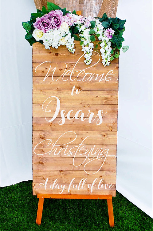 120cm Christening Venue Sign, Welcome to 'Name' Christening Entrance Sign