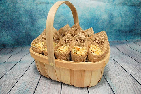 16 Open Hessian Confetti Cones with Oval Wooden Basket