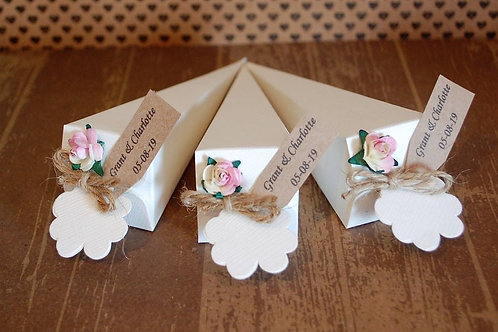 String Confetti Cones with Personalised Tag and Paper Rose