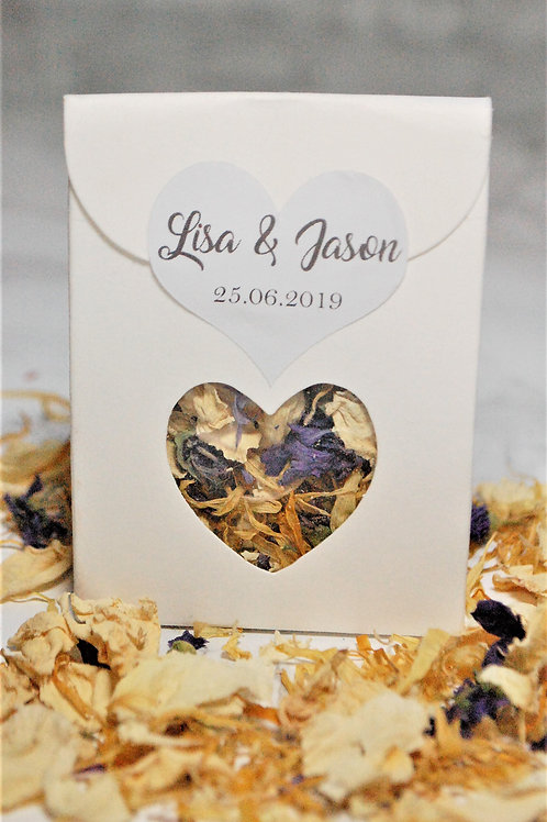 Biodegradable Flower Wedding Confetti Boxes, Personalised Heart Sticker