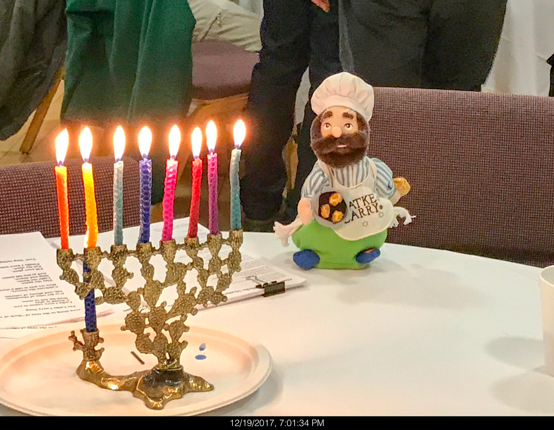 Latke Larry Keeping an Eye on the Candles