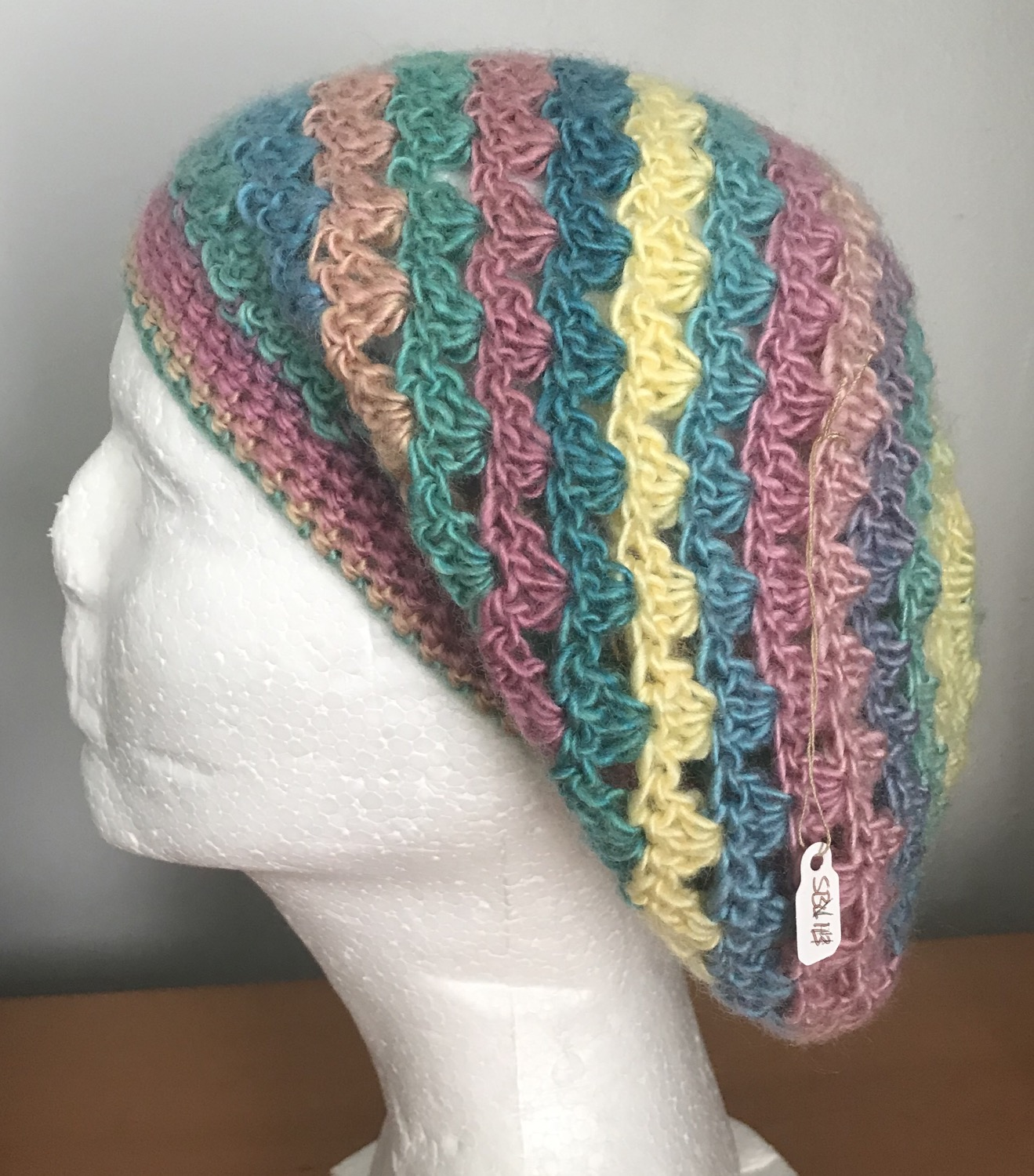 Candied V-Stitch Slouchy Beanie