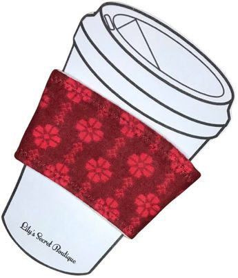 Red Flower Coffee Cozy