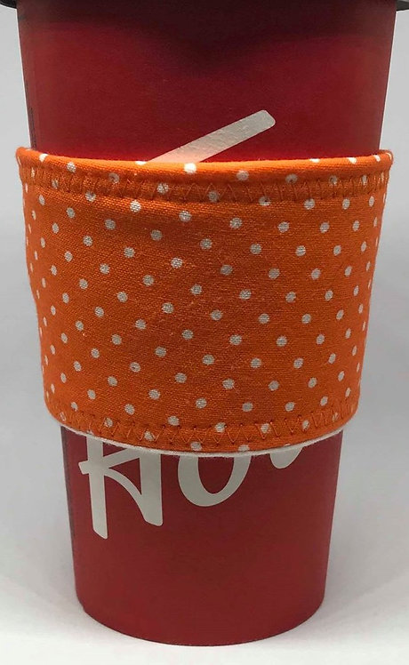 Orange with White Dots Coffee Cozy