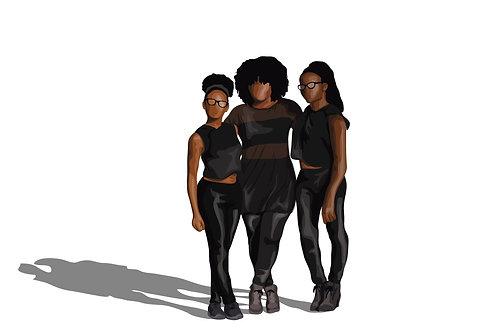 Faceless Custom Digital Illustration (Group)