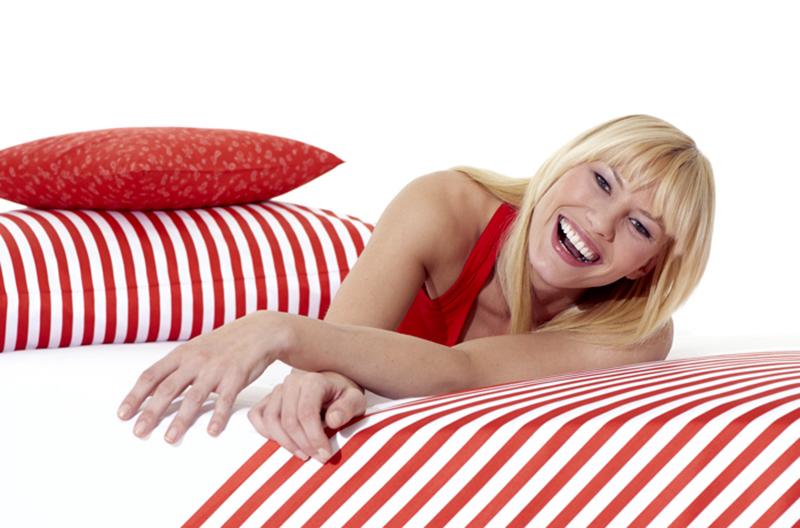 happy in cozy bed