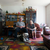 Jean and John Duffield (with Bruiser, their dog)