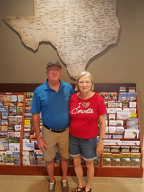 Mary and Mark Jurey from Baton Rouge, LA are the first Corvette Invasion goers to stop by