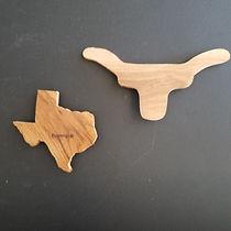 Bastrop Souvenir Mesquite Wood Magnets (