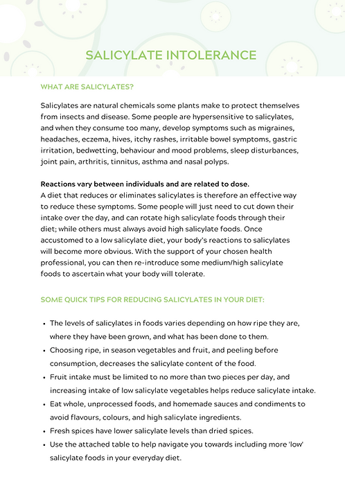 Salicylate Intolerance Resources