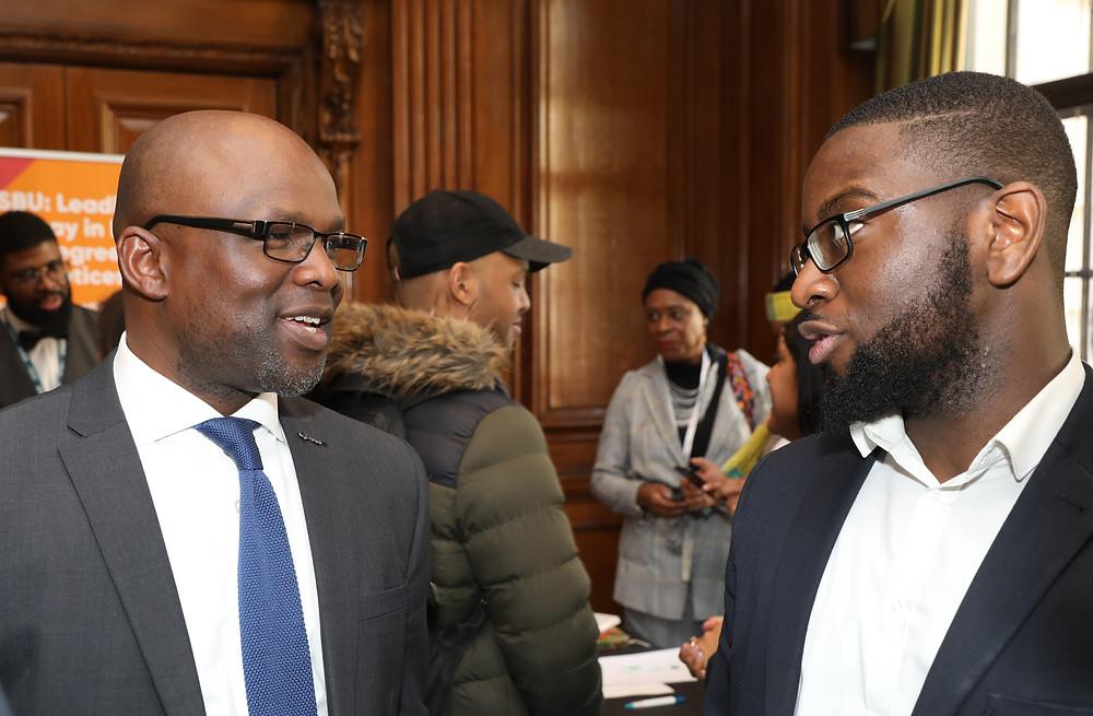 Bola Abisogun OBE talks with Bernard Bruce, Westminster City Council BAME External Partnership Lead