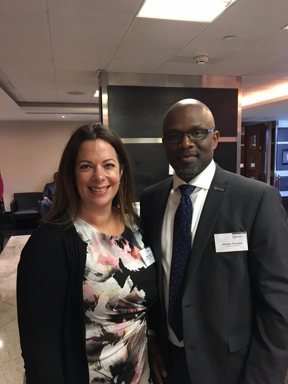 Monique Royle, RICS West Midlands Regional Board with Bola Abisogun FRICS of RICS London Regional Board