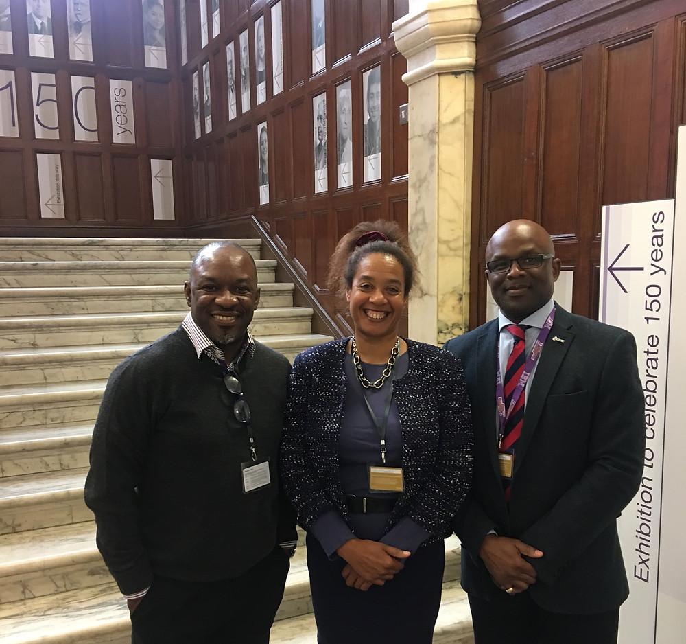 (L-R); Uche Obi FRICS, Diane Dumashie FRICS and Bola Abisogun OBE FRICS