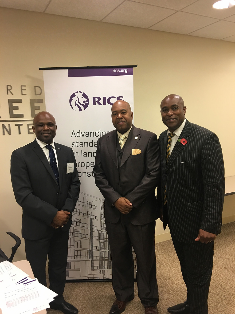 Bola Abisogun [left] with representatives from the City of Atlanta, Larry Scott [middle] and Karl Walbrook [right]