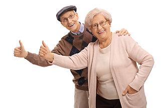 senior couple at smiles on hudson