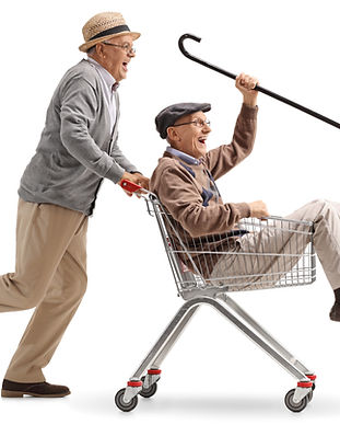 Senior gents racing in shopping cart