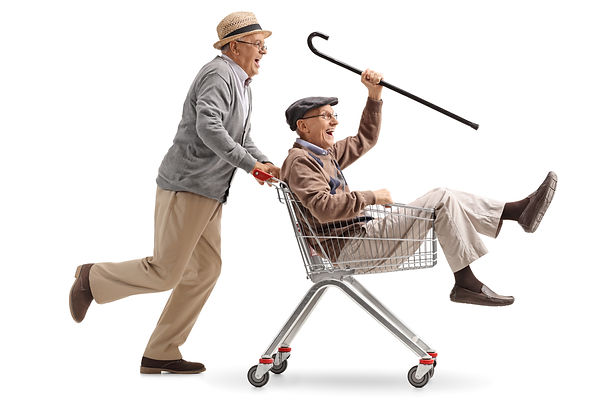 Senior gents racing in shopping cart
