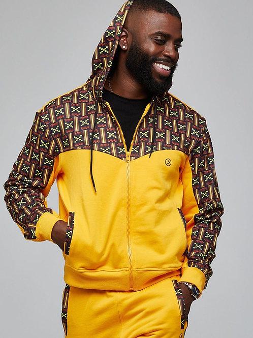 Jelani Men's African Print Color Blocked Hoodie