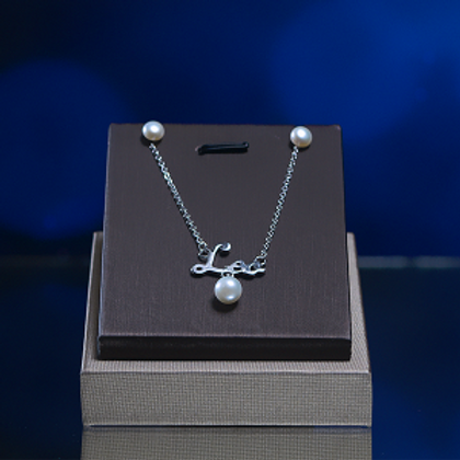 Silver Necklace & Earring With Pearl
