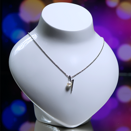 Silver Chain With Pear Pendant