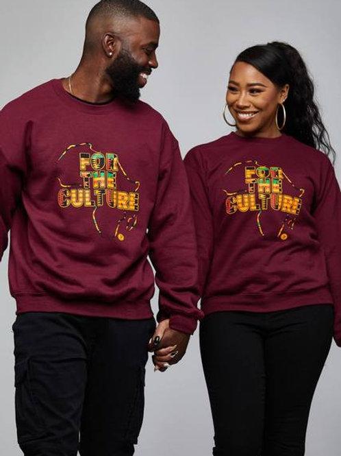 tops-akubu unisex kente for the culture graphic sweatshirt maroon